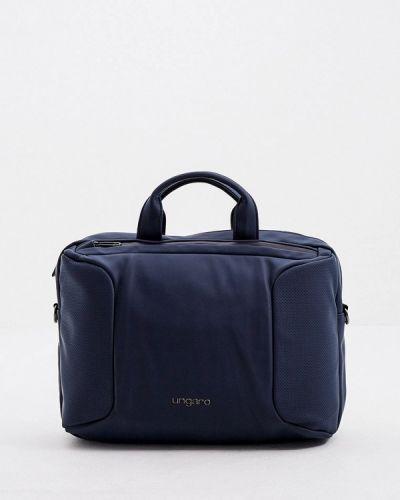 Кожаная синяя сумка Ungaro