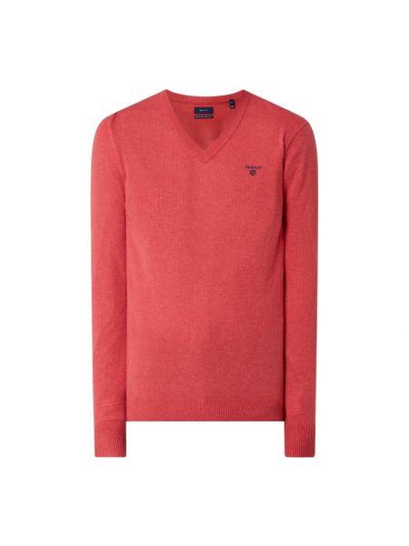 Prążkowany różowy sweter wełniany Gant