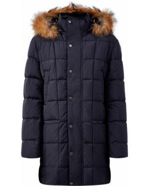 Куртка с капюшоном с мехом синяя Cudgi