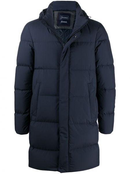 Puchaty klasyczny niebieski długi płaszcz z długimi rękawami Herno