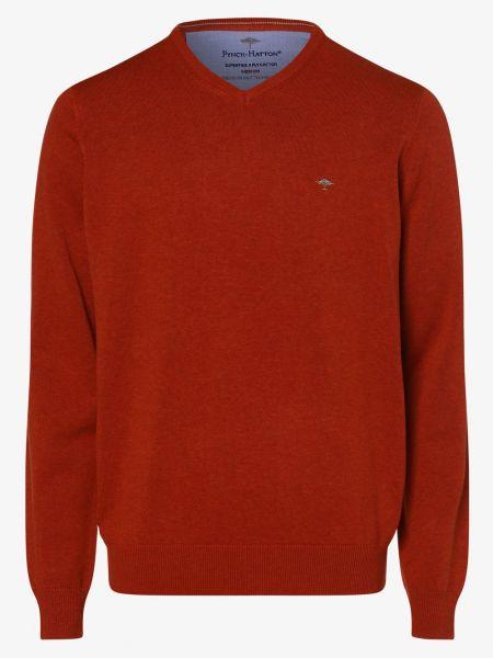 Sweter z dekoltem w serek - pomarańczowy Fynch-hatton