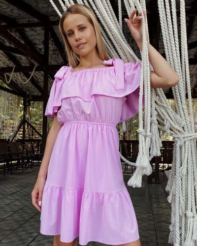Фиолетовое платье мини с оборками свободного кроя на резинке Cardo
