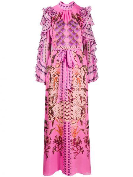 Платье макси розовое с цветочным принтом Temperley London