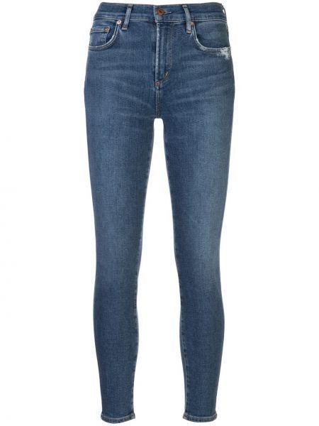 Укороченные зауженные джинсы - синие Agolde