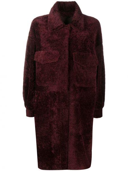 Красное кожаное пальто классическое с воротником Simonetta Ravizza