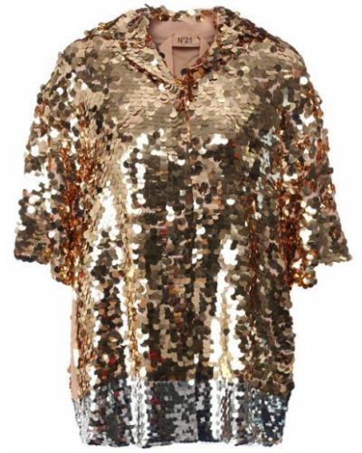 Блузка с коротким рукавом с пайетками шелковая No. 21