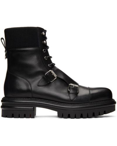 Czarny skórzany buty obcasy na platformie Christian Louboutin