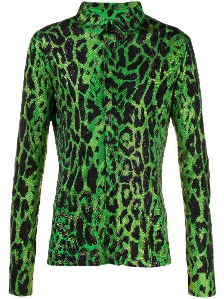 Koszula z długim rękawem prosto zapinane na guziki Versace