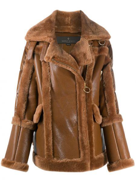 Коричневое пуховое пальто классическое с воротником Nicole Benisti
