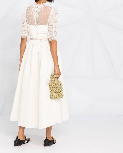 Расклешенное с рукавами белое платье миди Self-portrait