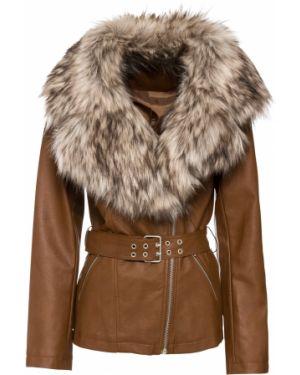 Кожаная куртка с мехом Bonprix