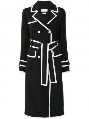 Белое длинное пальто двубортное с карманами Thom Browne