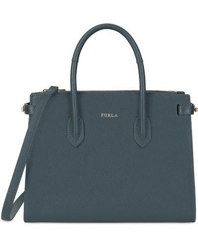 Кожаная сумка серая на руку Furla