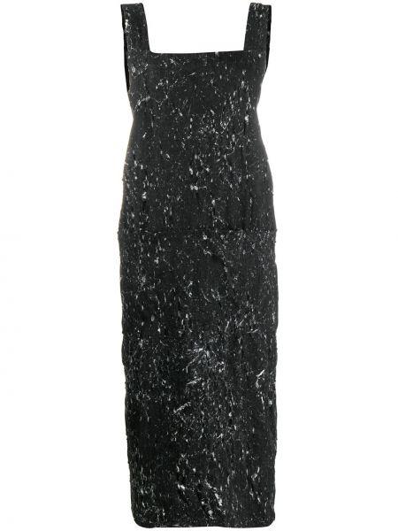 Черное прямое платье без рукавов с вырезом Barbara Bologna