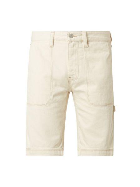 Beżowy bawełna dżinsowe szorty z kieszeniami z paskami Tommy Jeans