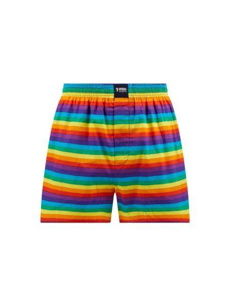 Majtki szorty bawełniane w paski zapinane na guziki Happy Shorts