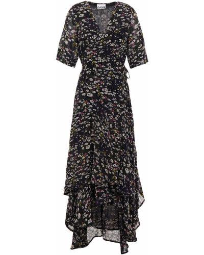 Czarna sukienka midi kopertowa z szyfonu Ganni