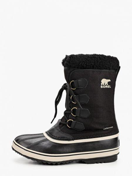 Текстильные черные ботинки осенние Sorel