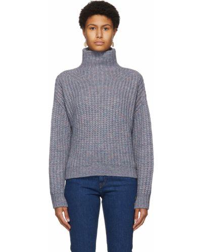 Różowy długi sweter moherowy z długimi rękawami Isabel Marant