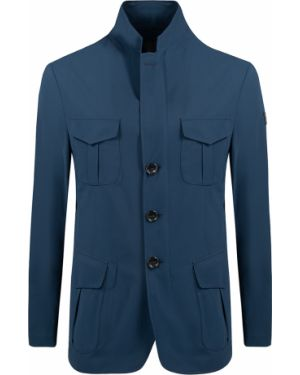 С рукавами синяя куртка на пуговицах с карманами Montecore