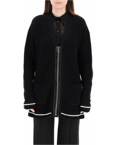 Czarny kardigan z dekoltem w serek z długimi rękawami Givenchy