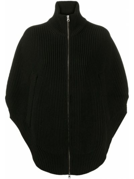 Bawełna akryl z rękawami czarny peleryna Mm6 Maison Margiela