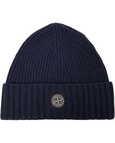 Шерстяная шапка бини - синяя Stone Island Junior