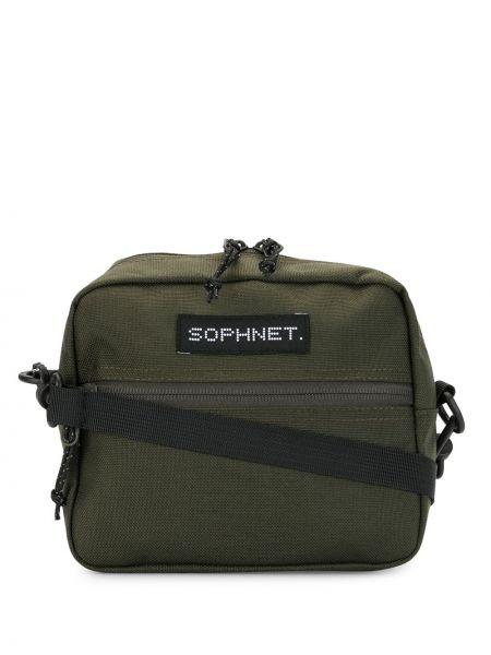 Нейлоновая сумка на плечо хаки на молнии с нашивками Sophnet.