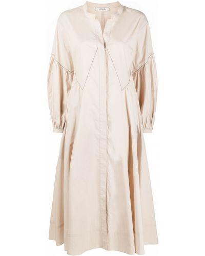 Beżowa sukienka midi z długimi rękawami bawełniana Dorothee Schumacher