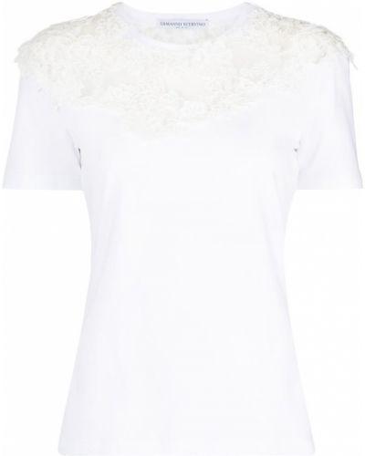 Хлопковая прямая белая футболка Ermanno Scervino