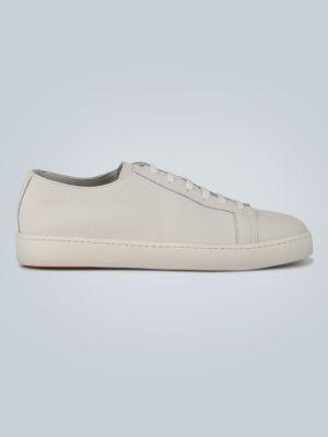 Białe sneakersy skorzane Santoni