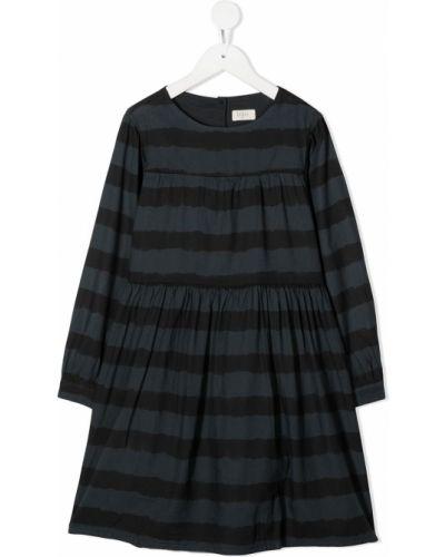 Черное платье с рукавами круглое из вискозы с круглым вырезом Buho