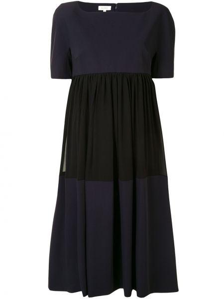 Синее шелковое платье миди на молнии с вырезом Delpozo