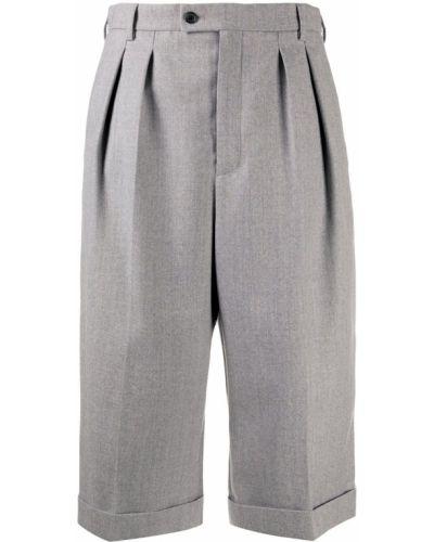 Bawełna jedwab spodnie culotte z kieszeniami wysoki wzrost Saint Laurent