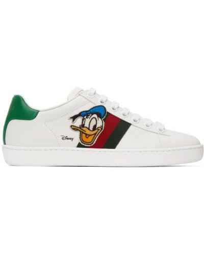 Zielone sneakersy skorzane sznurowane Gucci