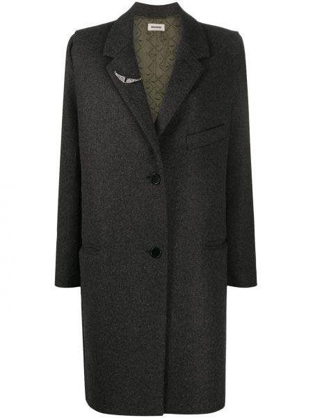 Серое однобортное шерстяное длинное пальто с карманами Zadig&voltaire