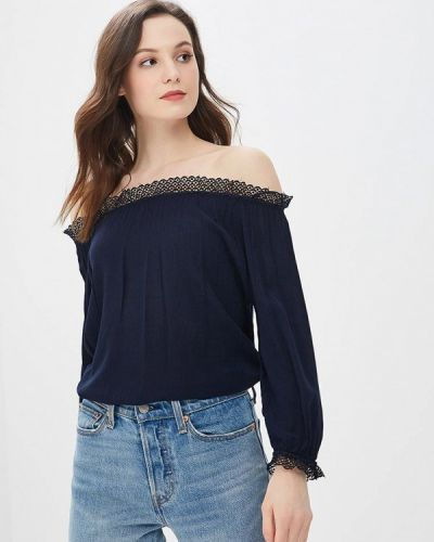 Синяя блузка с открытыми плечами с открытыми плечами Adl