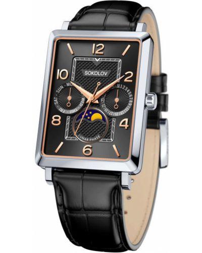 Кожаные черные часы на кожаном ремешке Sokolov