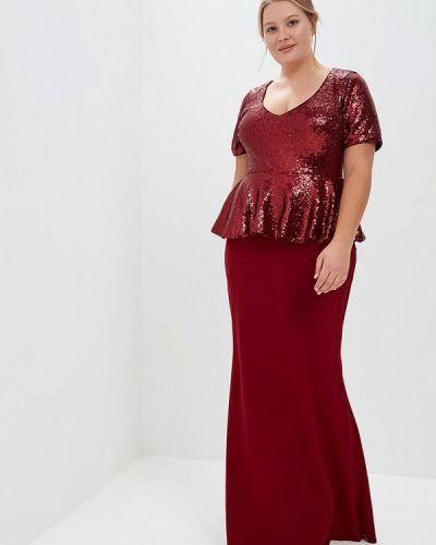Вечернее платье осеннее красный Goddiva Size Plus