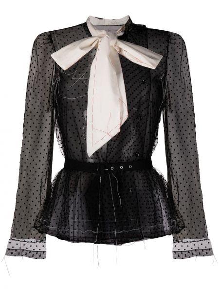 Czarna bluzka z długimi rękawami z siateczką Maison Margiela