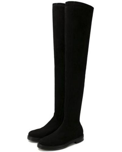 Черные замшевые ботфорты на каблуке Le Silla