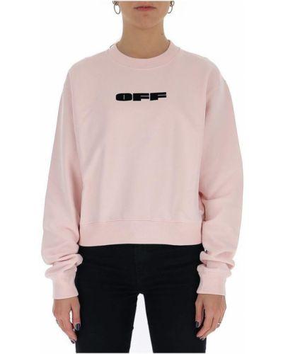 Różowa bluza z długimi rękawami bawełniana Off-white