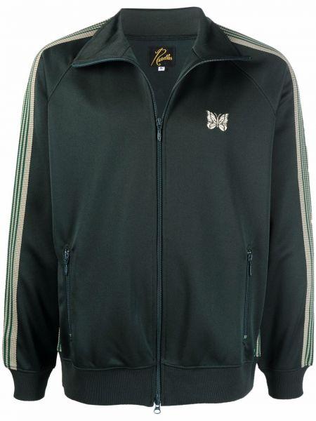 Zielona kurtka z haftem Needles