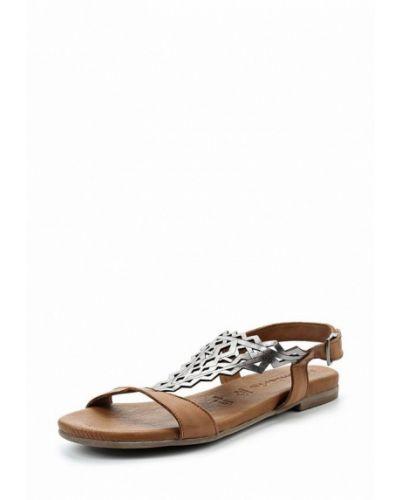 Коричневые кожаные сандалии Tamaris