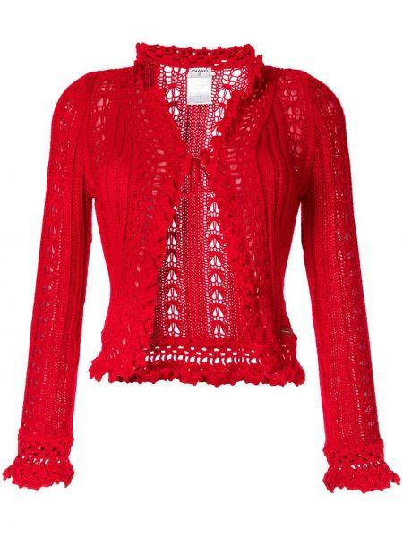 Вязаный кардиган красный Chanel Pre-owned