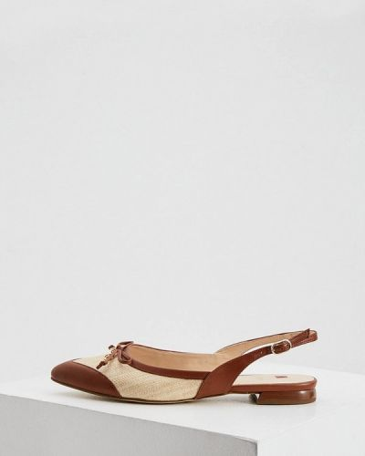 Текстильные коричневые туфли с открытой пяткой Hogl