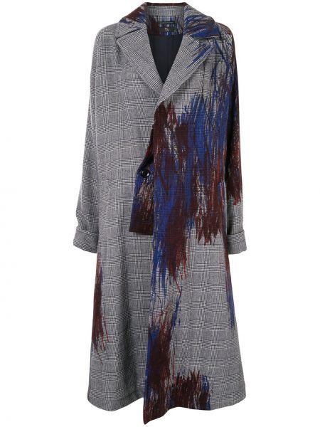 Серое шерстяное длинное пальто оверсайз Y's