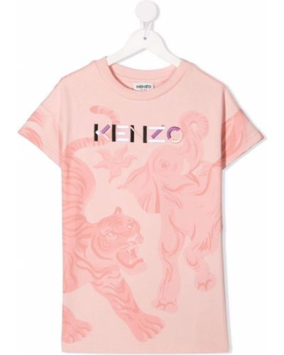 Prążkowana różowa sukienka mini bawełniana Kenzo Kids