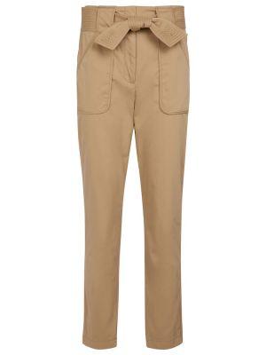 Хлопковые повседневные бежевые брюки Veronica Beard