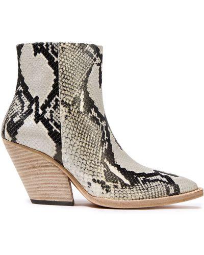 Ankle boots skorzane z printem w szpic Iro